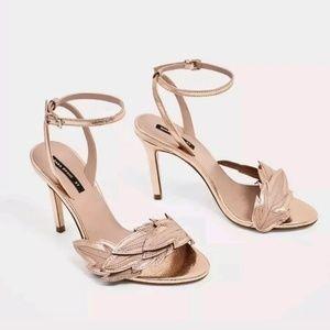 NWT Zara Genuine Leather Floral Strappy Sandals 38